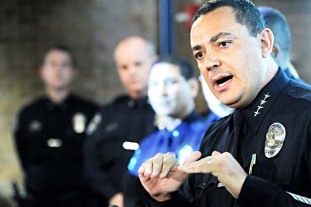 APD Police Chief Art Acevedo leads a press conference regarding the  suspension of Senior Patrol Officer Leonardo Quintana on November 4, 2009