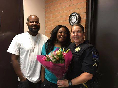 Acoording to a Tulsa Police Facebook Post in August, Officer Betty Shelby was surprised with flowers from the victims of a burglary that the officer had assisted.