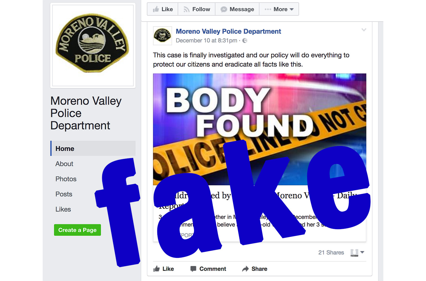 Fake Facebook Police Page