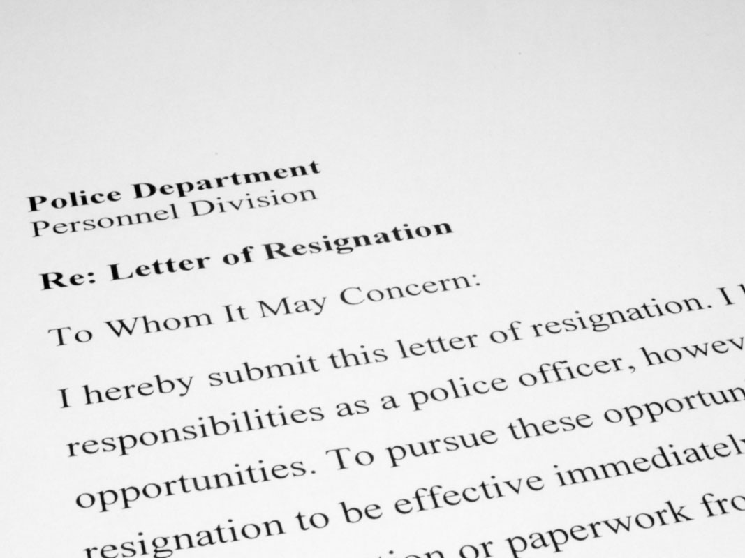 Police Officer's Resignation Letter