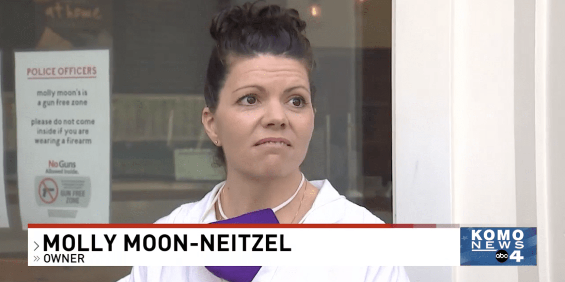 Molly-Moon Neitzel does not want armed police officers in her ice cream shop. (KOMO News)