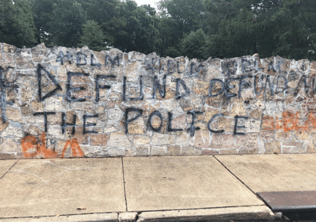 'BLM' And 'Defund The Police' Tagged On Memphis Landmarks