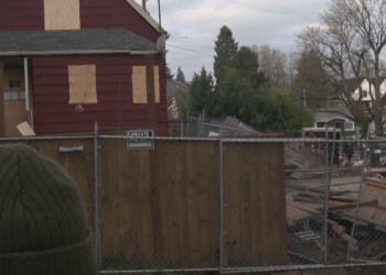 """Portland """"Red House"""" at center of occupation crisis in the beleaguered city. (OPB.org)"""